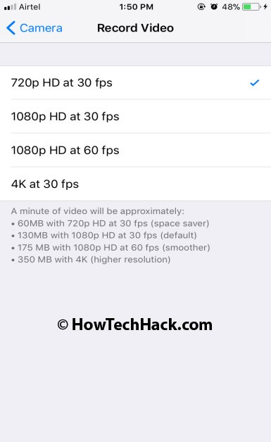 Shoot Videos at lower quality