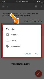 click on the INBOX or PRIMARY option in the menu